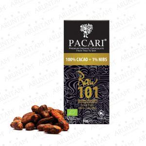 Tavoletta Pacari Raw 101% di Cacao (100% + 1% Granella)